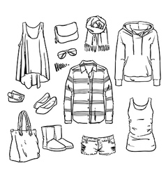Hand drawn clothing and accessories vector image vector image