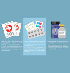 medicine icons collection with information below vector image