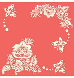 Abstract floral background with butterflies vector image