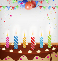 Birthday celebration with cake and decoration vector
