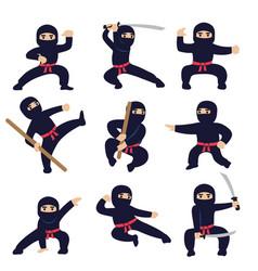 cartoon funny warriors ninja or samurai vector image
