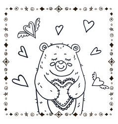 cute bear with heart vector image vector image