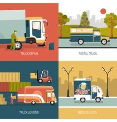 Delivery Trucks 2x2 Design Concept vector image vector image
