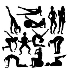 exercises woman activity silhouettes vector image