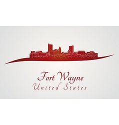 Fort Wayne skyline in red vector image vector image