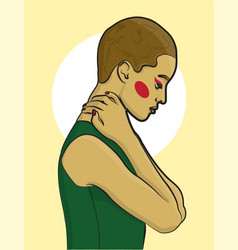 girl with short blond hair in a green tank top on vector image
