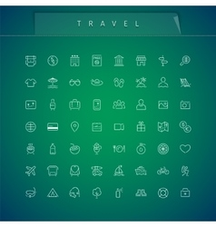 Travel and Vacation Thin Icons Set vector image