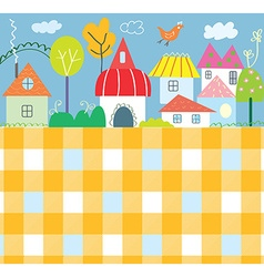 Background for kids with town and pattern - funny vector