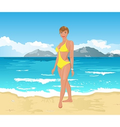beach girl summer background vector image