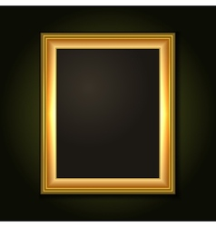 Gold Picture Frame with Dark Canvas vector image vector image