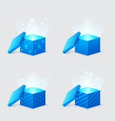 magic light comes from the blue gift boxes vector image vector image