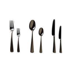 realistic fork and knife mockup stainless steel vector image vector image