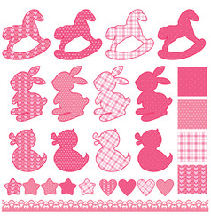 set with toys - horses rabbits hearts and stars vector image