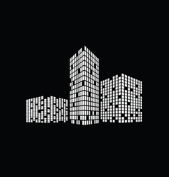 business building on black vector image