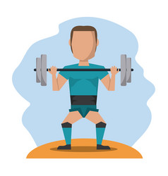 Color scene with faceless man lifting weights vector
