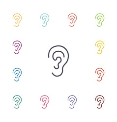 ear flat icons set vector image vector image