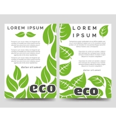 Eco brochure template with green leaves vector image vector image