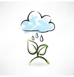 Rain and leafs grunge icon vector image