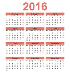 Simple calendar 2016 Week starts on Monday vector image vector image