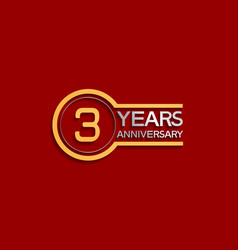 3 years anniversary golden and silver color vector
