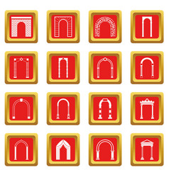 arch set icons set red vector image