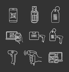 barcodes chalk icons set vector image