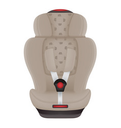 Beige child car seat with elephants isolated on a vector