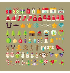 Big Flat Style Collection of Winter Holidays vector image