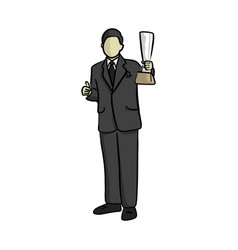 business man holding trophy with thumb up vector image