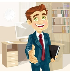 Business man in office with speech bubble gives vector