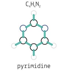C4H4N2 pyrimidine molecule vector image