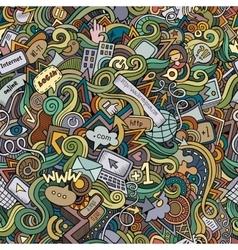 Cartoon hand-drawn doodles Internet social vector
