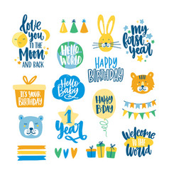 collection childish lettering written vector image