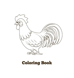Coloring book rooster cartoon vector