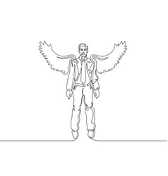 Continuous one line drawing businessman wings vector