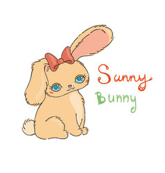 cute bunny for baby shower or easter card vector image