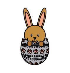 cute rabbit with egg character icon vector image