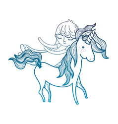 Degraded outline cute sweet unicorn with girl vector