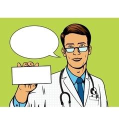 Doctor holding medicine box pop art vector