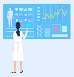 doctor wearing uniform scanning patients body vector image