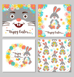 Easter bunny happy easter greeting cards easter vector