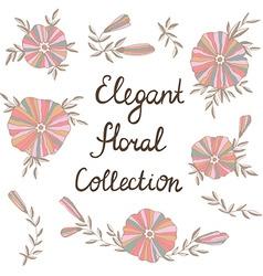 Elegant flowers in Cute floral elements Vintage vector image