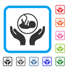 Embryo care hands framed icon vector