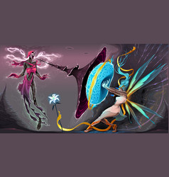 Fear and courage battle in astral realms vector
