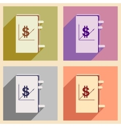 Flat with shadow icon concept financial report vector