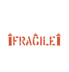 Fragile stamp imprint this way up symbol vector