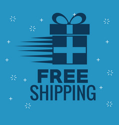 Free shipping with gift box vector