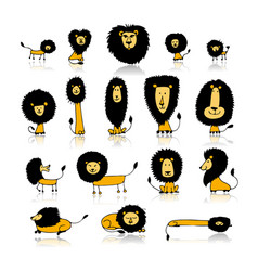 Funny lions set sketch for your design vector