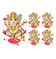 Ganesh in 5 different colors vector image