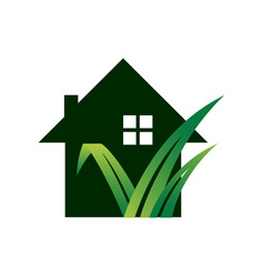 gardening landscaping logo design lawn and house vector image